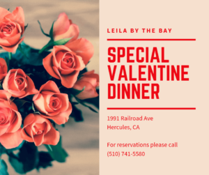 Special Valentine Dinner at Leila by the Bay