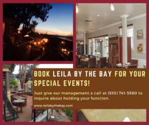 Book Leila by the Bay for your Special Events