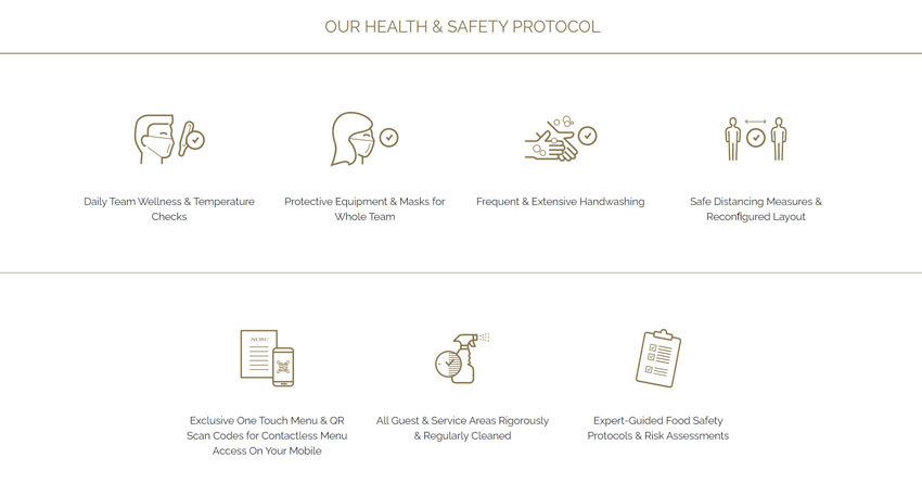 We are open again with updated Health and Safety Protocols - images of different health and safety protocols.