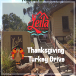 Leila by the Bay - Thanksgiving Turkey Drive - Front of Leila, text and logo
