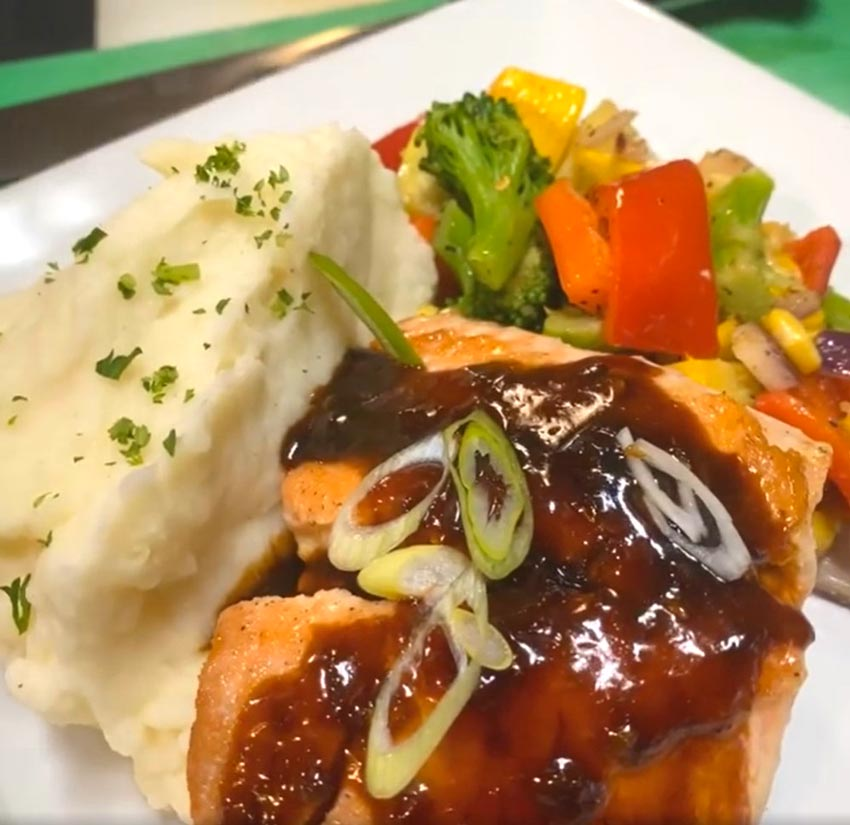 Leila by the Bay - Latest from Leila - Seared Salmon with Chilly Garlic Glaze